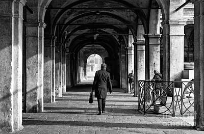 Photograph - A  Walk To Work In Venice by John Rizzuto