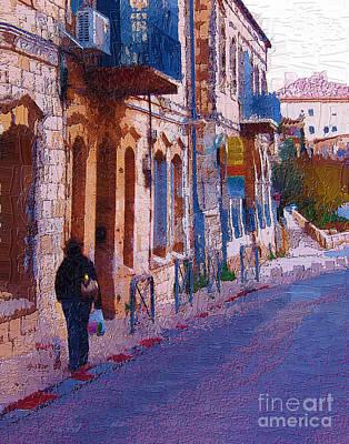 Streetscape Digital Art - A Walker In Jerusalem Israel  by Rick Black