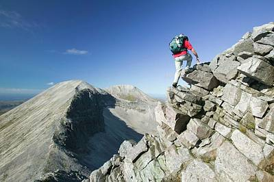 Great Outdoors Photograph - A Walker On The Peak Of Foinaven by Ashley Cooper