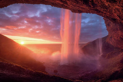 Waterfall Photograph - A Wall Of Flames by Daniel F.