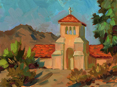 Canyons Painting - A Warm Day At Borrego Springs Lutheran by Diane McClary