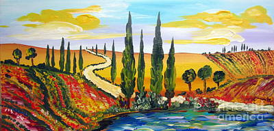 Tuscan Hills Painting - A Warm Day Under The Tuscan Sun by Roberto Gagliardi