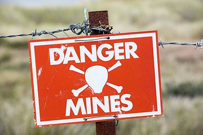 Falkland Islands Photograph - A Warning Sign About Mines by Ashley Cooper