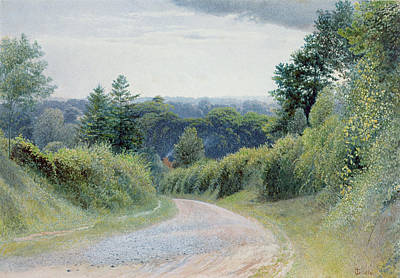 Roadside Painting - A Warwickshire Lane by Thomas Clack