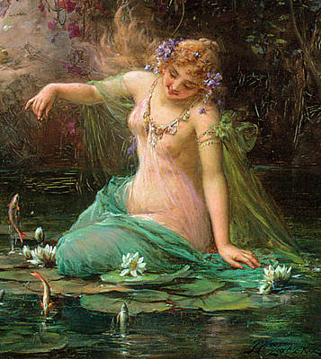 Digital Art - A Water Idyll Detail I by Hans Zatzka