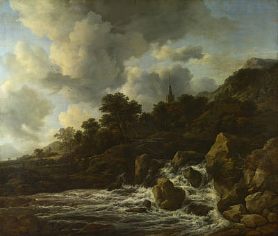 Painting - A Waterfall At The Foot Of A Hill Near A Village by Jacob Isaacksz van Ruisdael