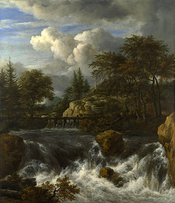 Painting - A Waterfall In A Rocky Landscape by Jacob Isaacksz van Ruisdael