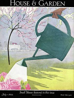 A Watering Can Above Pink Roses Art Print