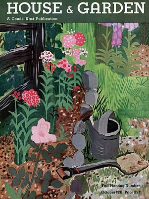 A Watering Can And A Shovel By A Flower Bed Art Print