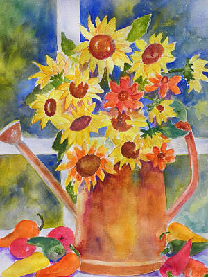 Daiseys Painting - A Watering Can With Marguerites by Gloria Johnson