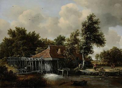 Meindert Hobbema Drawing - A Watermill, Meindert Hobbema by Litz Collection