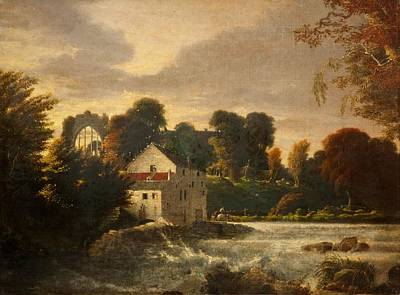 A Watermill Near Egglestone Abbey Art Print
