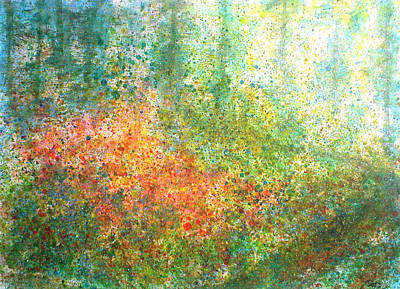 Pointillistic Painting - A Way In The Woods by David  Seacord