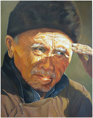 Old Chinese Man Painting - A Weary Glance by Jacob Ting