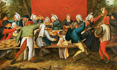 Bagpipes Wall Art - Photograph - A Wedding Feast Panel by Pieter the Younger Brueghel