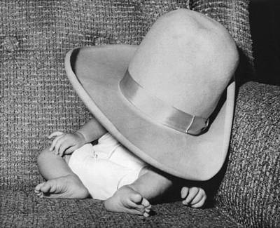 Catnap Photograph - A Wee Weary Cowpoke by Underwood Archives