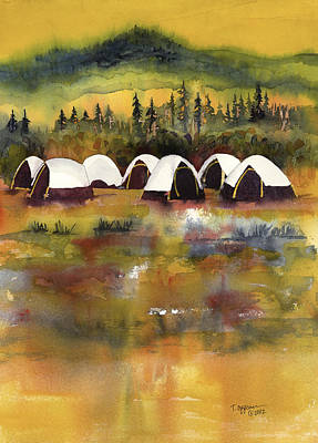 Wildfire Painting - A Welcome Rain In Fire Camp by Tonja Opperman