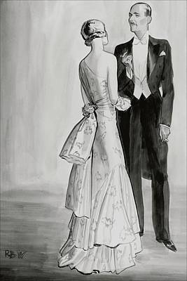 Male Digital Art - A Well-dressed Couple by Rene Bouet-Willaumez