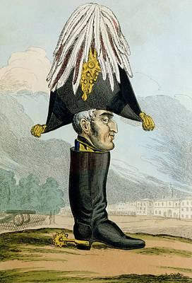 Caricature Drawing - A Wellington Boot Or The Head by English School