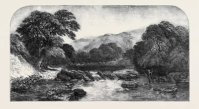 Trout Stream Drawing - A Westmoreland Trout Stream by Jutsum, Henry (1816-1869), English