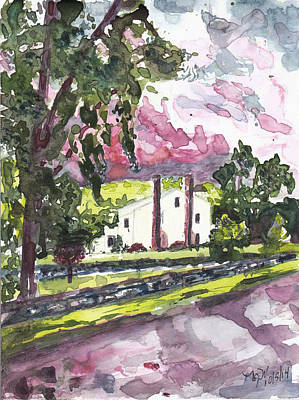 Exurban Painting - A Weston House After Rainfall by Nancy Wilt