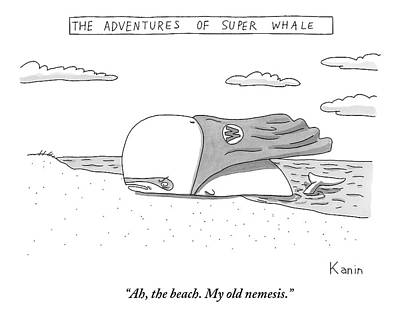Whales Drawing - A Whale In A Cape Is Laying On A Beach by Zachary Kanin