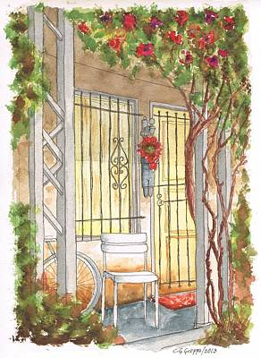 Santa Monica Painting - A White Chair In Plummer Park - West Hollywood - California by Carlos G Groppa