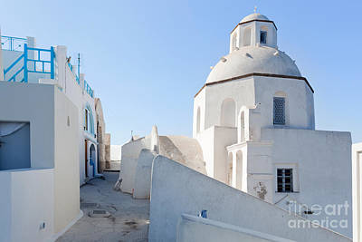 Vivid Photograph - A White Church In Fira On Santorini Island Greece by Michal Bednarek