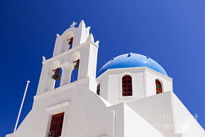 Traditional Photograph - A White Church With Blue Dome In Oia Or Ia On Santorini Island Greece by Michal Bednarek