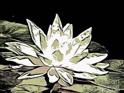Manga Digital Art - A  White Water Lily by Dragica  Micki Fortuna