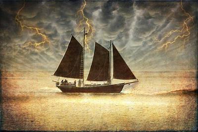 Lightning Digital Art - A Wicked Sail by Bill Tiepelman