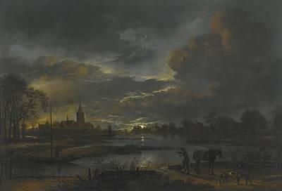 Figure Painting - A Wide Moonlit River Landscape by Celestial Images
