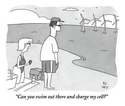 A Wife Speaks To Her Husband On The Beach Art Print