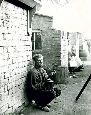Miners Painting - A Wigan Miner Kneeling Down In A Wash Day Alley by MotionAge Designs