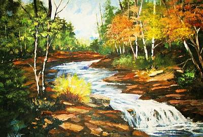 A Winding Creek In Autumn Art Print