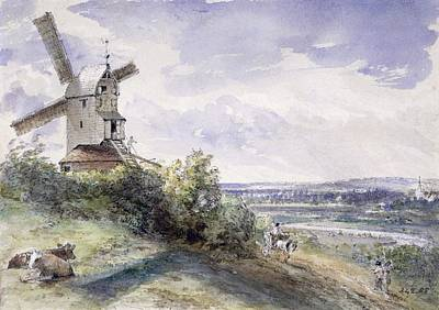 Cow Drawing - A Windmill At Stoke By Nayland by John Constable