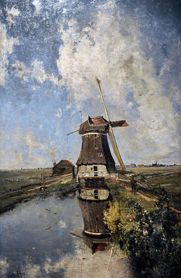 A Windmill On A Polder Waterway, Known As In The Month Of July, C. 1889, By Paul Joseph Constantin Art Print by Bridgeman Images