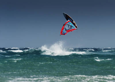 A Windsurfer Flips Upside Down Above Art Print by Ben Welsh