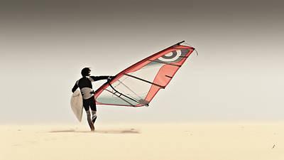 A Windsurfer Runs On The Sand Of Punta Art Print by Ben Welsh