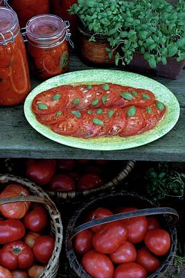 Baskets Photograph - A Wine & Food Cover Of Tomatoes by Susan Wood