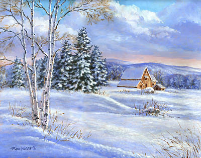 Forest Painting - A Winter Afternoon by Richard De Wolfe