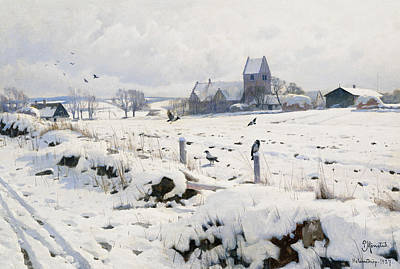 A Winter Landscape Holmstrup Art Print by Peder Monsted