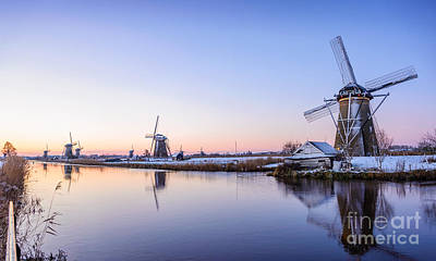 A Cold Winter Morning With Some Windmills In The Netherlands Art Print by IPics Photography