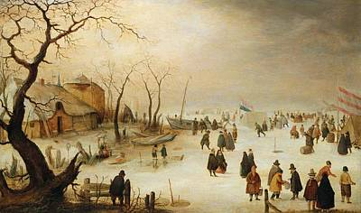 Landscape With River Painting - A Winter River Landscape With Figures On The Ice by Hendrik Avercamp
