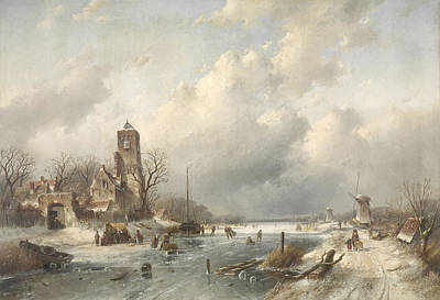 Winter Scene Drawing - A Winter Scene, Charles Leickert by Litz Collection
