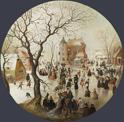 Hendrick Avercamp Painting - A Winter Scene With Skaters Near A Castle by Hendrick Avercamp