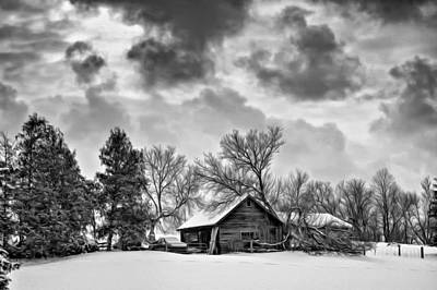 A Winter Sky - Oil Bw Print by Steve Harrington