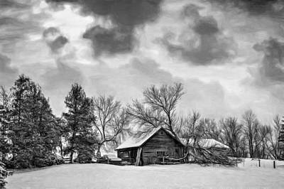 A Winter Sky - Paint Bw Art Print by Steve Harrington