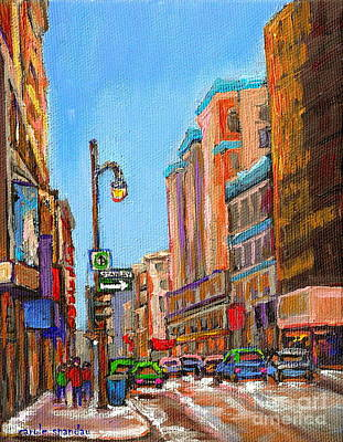 A Winter Walk Down Stanley Street Corner Rue Ste. Catherine City Scene By Carole Spandau Art Print by Carole Spandau
