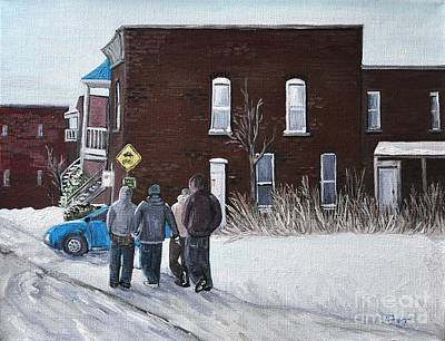 A Winter Walk In Montreal Art Print by Reb Frost